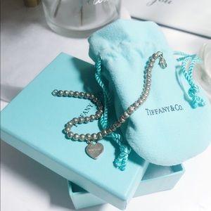 Auth Tiffany & co heart charm bead silver bracelet